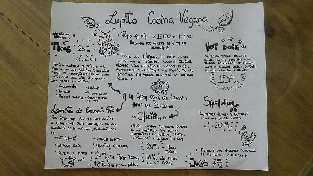 """Photo of Lupito Cocina Vegana  by <a href=""""/members/profile/mellowtrouble"""">mellowtrouble</a> <br/>menu <br/> March 15, 2017  - <a href='/contact/abuse/image/86554/236909'>Report</a>"""