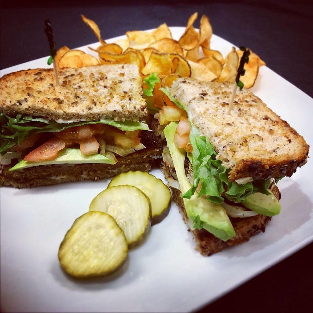 """Photo of Zany Graze  by <a href=""""/members/profile/community"""">community</a> <br/>Vegan Sandwich - Lettuce, Tomato, Avocado, Pickles and a Gardenburger with Vegan Mayo <br/> February 3, 2017  - <a href='/contact/abuse/image/86555/221516'>Report</a>"""