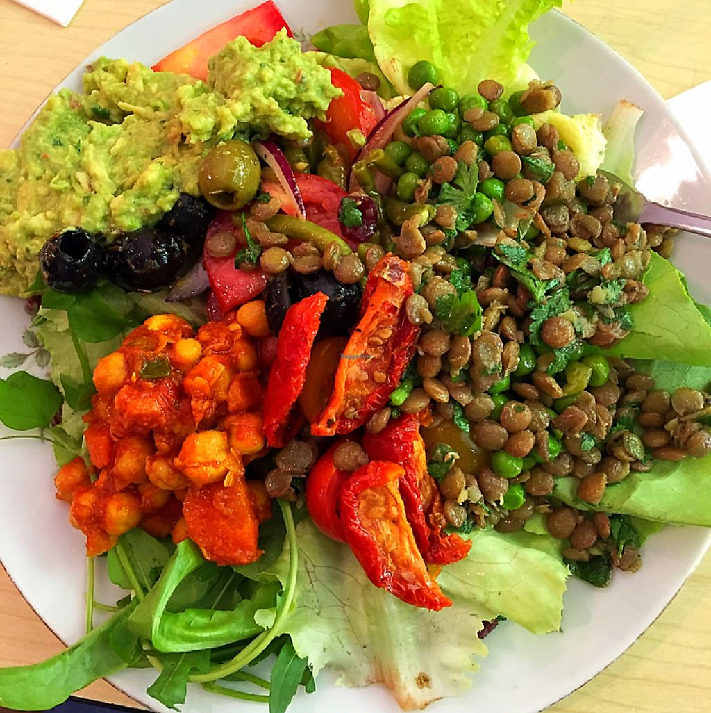 """Photo of Cafe Kamiel  by <a href=""""/members/profile/ap526"""">ap526</a> <br/>stacked up on fresh vegan options from the salad bar <br/> June 3, 2017  - <a href='/contact/abuse/image/86562/265337'>Report</a>"""