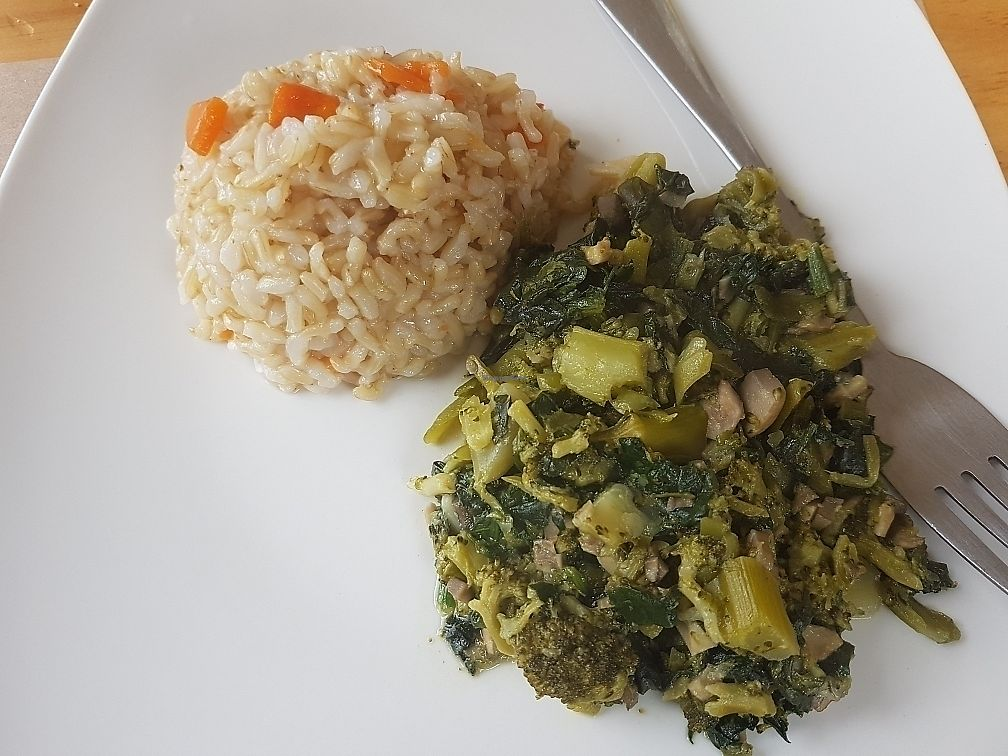 "Photo of Tenedor Verde  by <a href=""/members/profile/FelipeVarasConcha"">FelipeVarasConcha</a> <br/>Guiso de espinacas con arroz integral <br/> August 3, 2017  - <a href='/contact/abuse/image/86569/288340'>Report</a>"