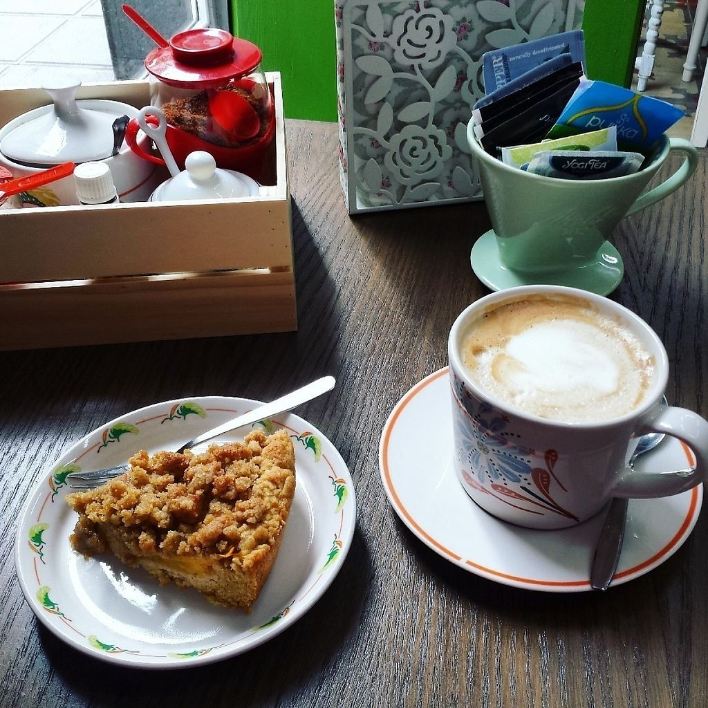 "Photo of Green Conga - Biomarket and Cafeteria  by <a href=""/members/profile/Tomma"">Tomma</a> <br/>Soy latte and vegan mango crumble pie for breakfast, so so good!  <br/> February 4, 2017  - <a href='/contact/abuse/image/86573/221997'>Report</a>"