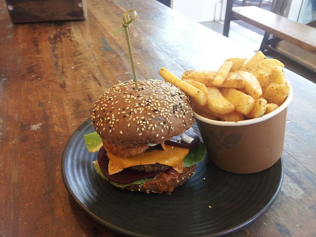 "Photo of MooFree Burgers - North Lakes  by <a href=""/members/profile/necius"">necius</a> <br/>Hash and Beet with Chips, from MooFree Burgers <br/> February 27, 2017  - <a href='/contact/abuse/image/86582/230930'>Report</a>"