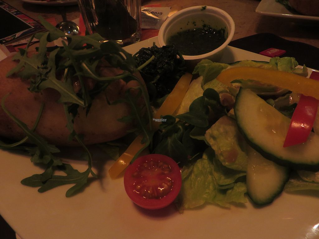 "Photo of Cafe & Bar Celona  by <a href=""/members/profile/VegiAnna"">VegiAnna</a> <br/>vegan version of oven-baked potato with spinach, mojo verde (garlic dip) and a side salad  <br/> February 8, 2017  - <a href='/contact/abuse/image/86649/224176'>Report</a>"