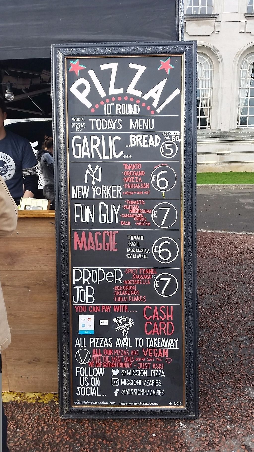 "Photo of Mission Pizza  by <a href=""/members/profile/konlish"">konlish</a> <br/>Menu at Cardiff Viva! Vegan Festival  <br/> February 18, 2017  - <a href='/contact/abuse/image/86659/227961'>Report</a>"
