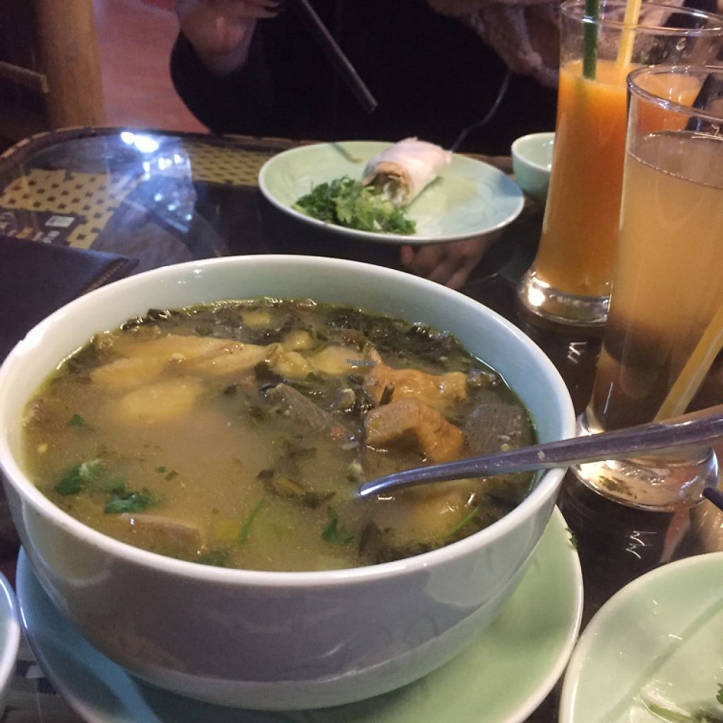 "Photo of An Lac Chay - Tay Ho District  by <a href=""/members/profile/vegannomad2"">vegannomad2</a> <br/>roots and banana soup with greens. nice herbs.  <br/> February 11, 2017  - <a href='/contact/abuse/image/86687/225356'>Report</a>"