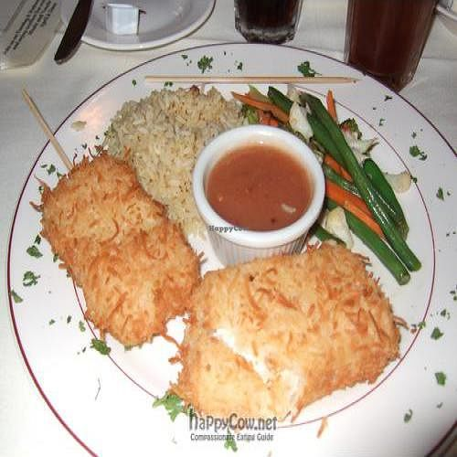 """Photo of Octopus's Garden  by <a href=""""/members/profile/michelec"""">michelec</a> <br/>Coconut crusted tofu, brown rice, steamed veggies and peanut sauce <br/> January 18, 2011  - <a href='/contact/abuse/image/8668/7106'>Report</a>"""