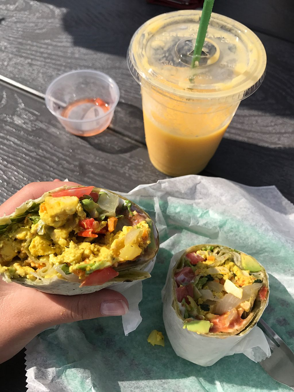 """Photo of Living on the Veg  by <a href=""""/members/profile/JenTodorov"""">JenTodorov</a> <br/>tofu breakfast wrap and tropical smoothie ! delicious  <br/> August 13, 2017  - <a href='/contact/abuse/image/8669/292324'>Report</a>"""