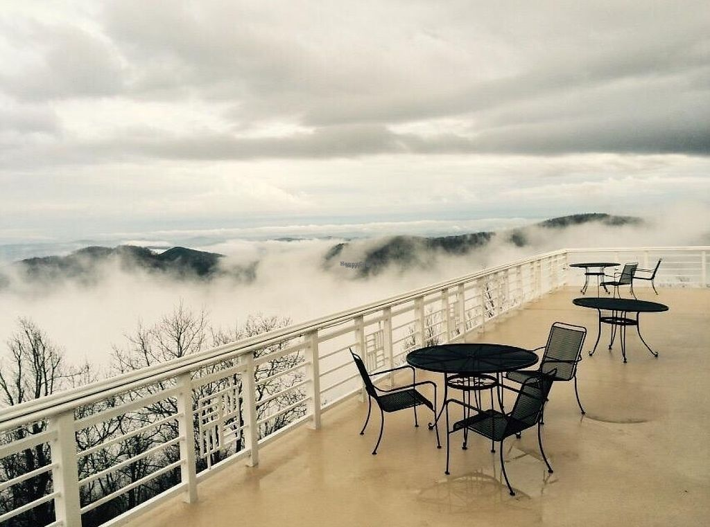 """Photo of Art of Living Retreat Center  by <a href=""""/members/profile/ArtofLiving"""">ArtofLiving</a> <br/>Even on cloudy days at the Art of Living Retreat Center, views are still breathtaking. Enjoy a delicious vegetarian meal here on our balcony! <br/> February 24, 2017  - <a href='/contact/abuse/image/86705/229952'>Report</a>"""