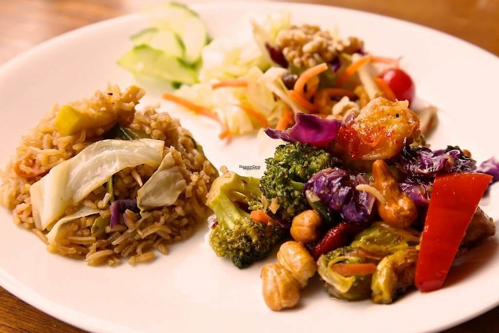"""Photo of Art of Living Retreat Center  by <a href=""""/members/profile/ArtofLiving"""">ArtofLiving</a> <br/>Guests can help themselves to our buffet style breakfast lunch & dinner. Pictured here is a delicious veggie stir-fry, rice and healthy salad.  <br/> February 24, 2017  - <a href='/contact/abuse/image/86705/229958'>Report</a>"""