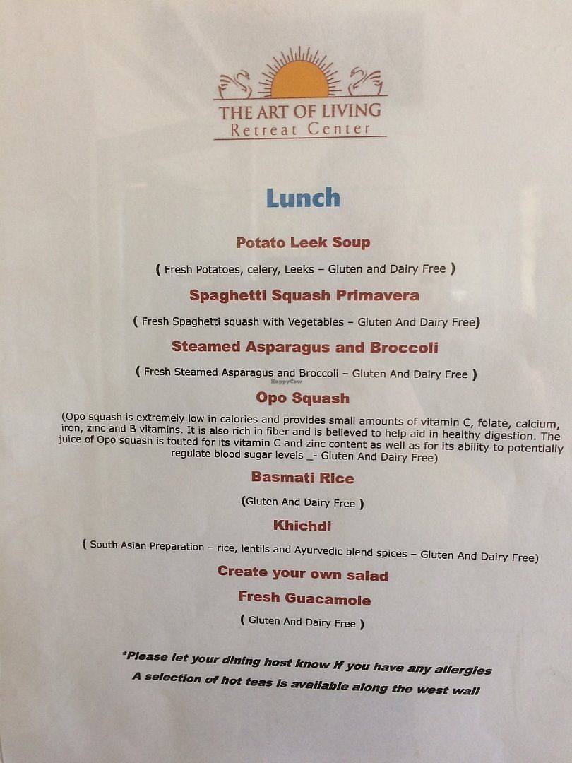 """Photo of Art of Living Retreat Center  by <a href=""""/members/profile/Veg-Predilection"""">Veg-Predilection</a> <br/>An example of a lunch menu <br/> June 20, 2017  - <a href='/contact/abuse/image/86705/271188'>Report</a>"""