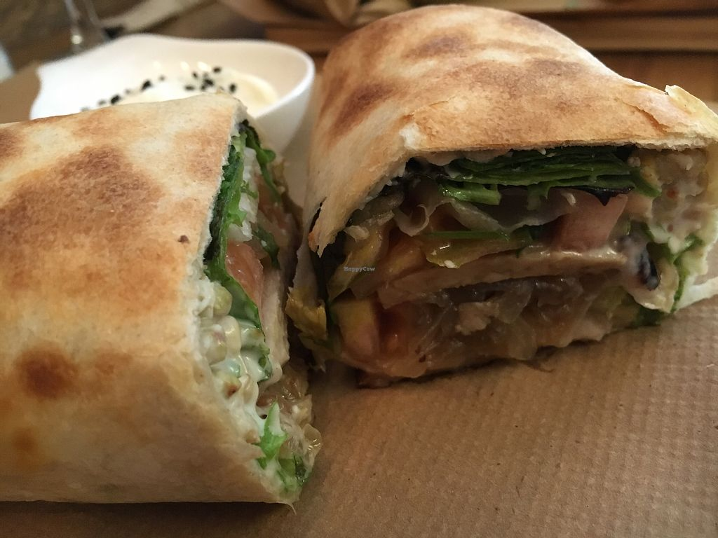 """Photo of Quinoa Arago Vegetaria  by <a href=""""/members/profile/hack_man"""">hack_man</a> <br/>Tempeh wrap  <br/> October 19, 2017  - <a href='/contact/abuse/image/86712/316587'>Report</a>"""