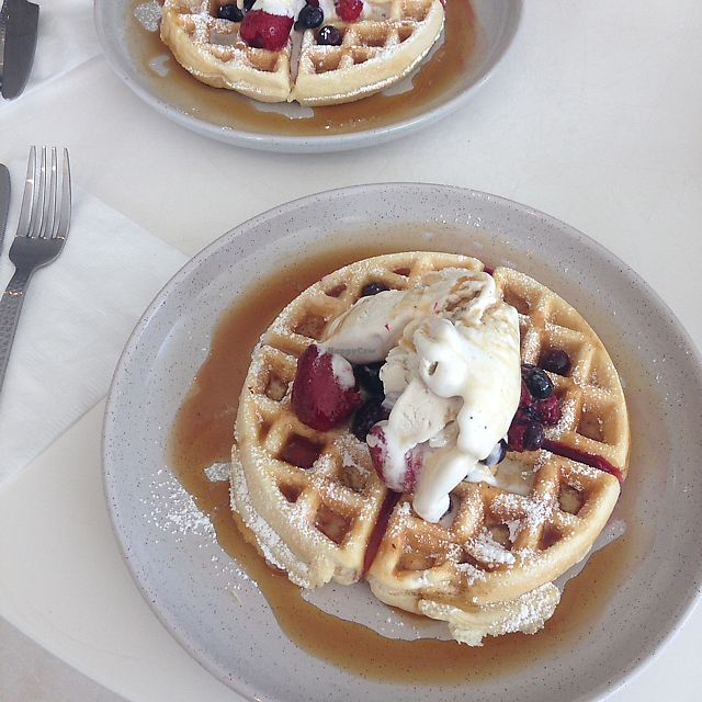 """Photo of Delicats  by <a href=""""/members/profile/Ladylock"""">Ladylock</a> <br/>waffles from breakfast menu <br/> July 14, 2017  - <a href='/contact/abuse/image/86734/280395'>Report</a>"""