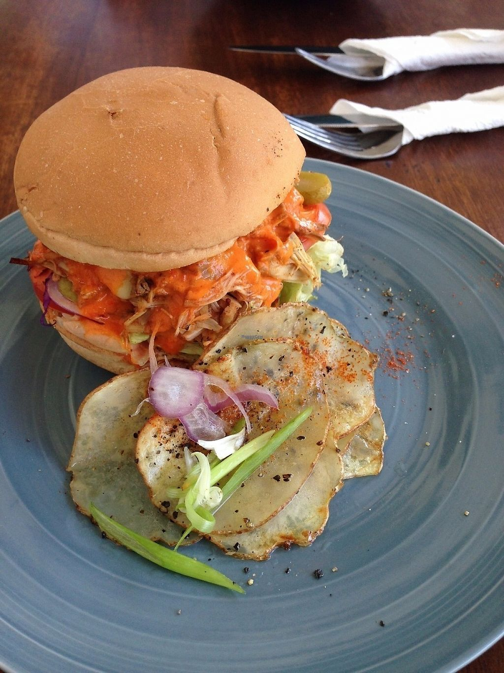 """Photo of Cafe Kumbuk Good Market  by <a href=""""/members/profile/CatDouglas"""">CatDouglas</a> <br/>Jackfruit """"pulled pork"""" burger - Vegan <br/> February 28, 2017  - <a href='/contact/abuse/image/86812/231170'>Report</a>"""