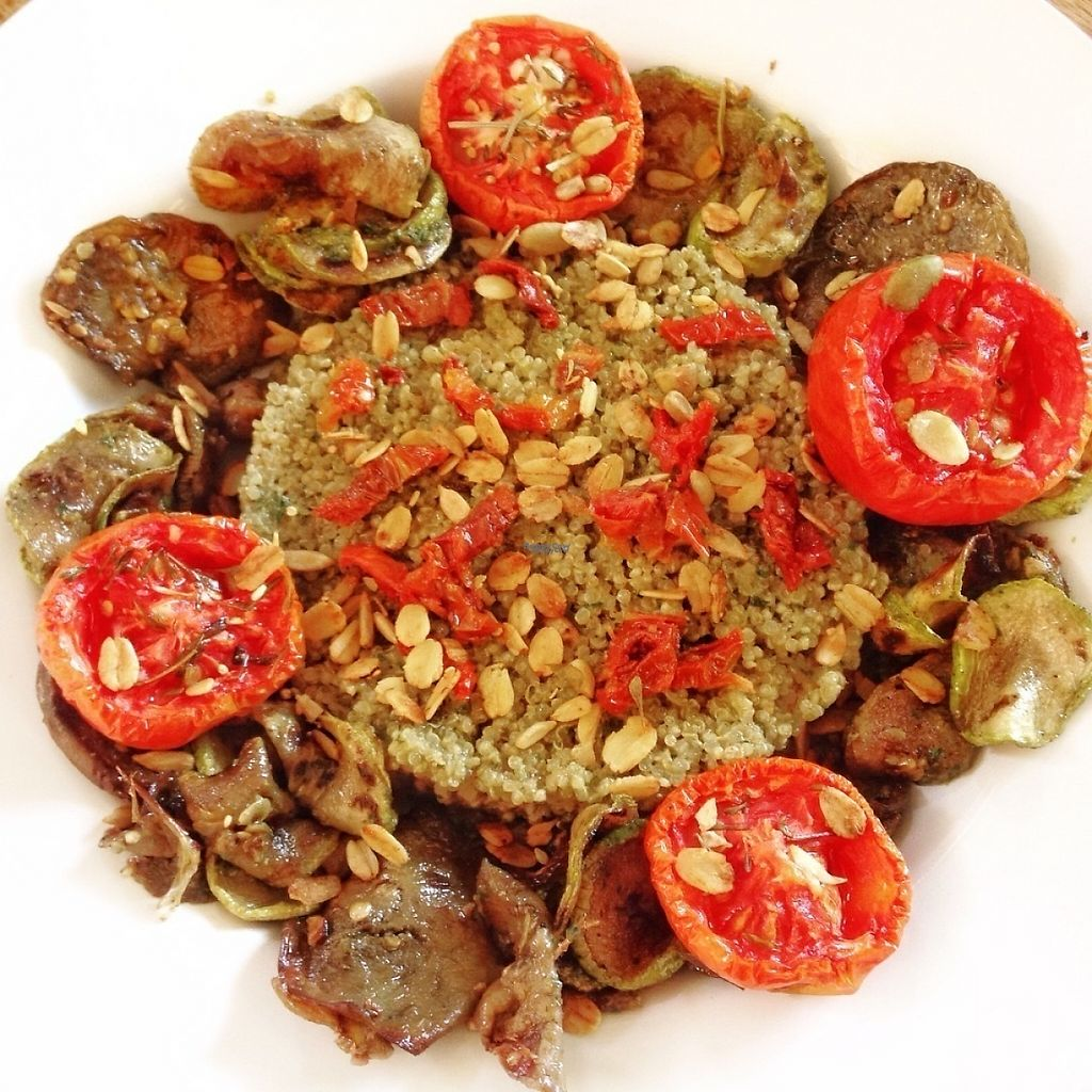 """Photo of CLOSED: Teaffanys  by <a href=""""/members/profile/Teaffanys"""">Teaffanys</a> <br/>Roasted vegetable with a vegan pesto quinoa, sundried tomatoes and super seeds <br/> February 9, 2017  - <a href='/contact/abuse/image/86820/224505'>Report</a>"""