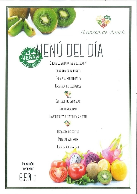 "Photo of El Rincon de Andres  by <a href=""/members/profile/Carmela79"">Carmela79</a> <br/>menu vegan (actually 8,50€) <br/> February 12, 2017  - <a href='/contact/abuse/image/86851/225806'>Report</a>"