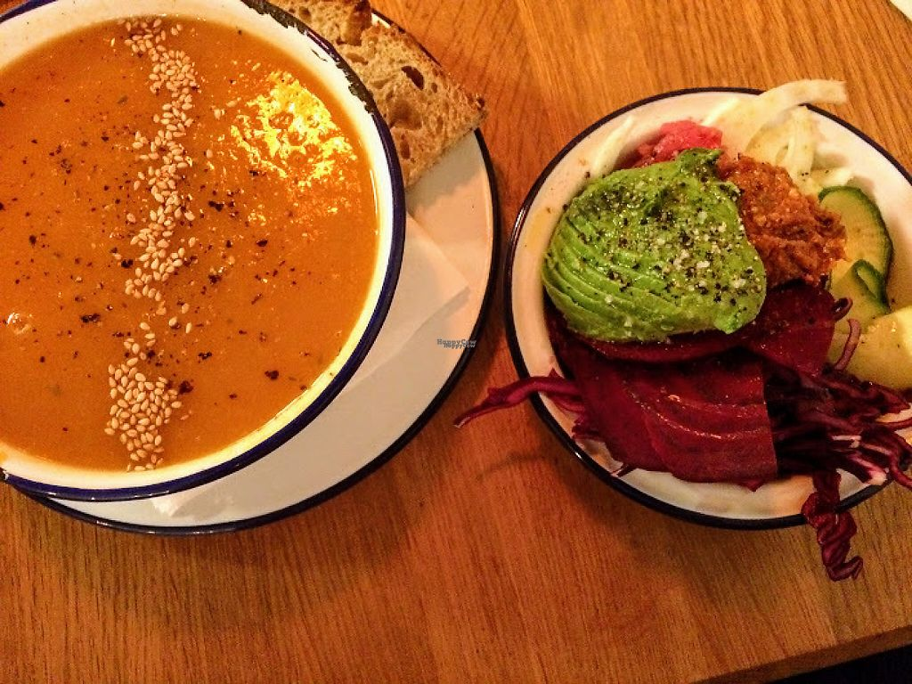"""Photo of Mana Espresso  by <a href=""""/members/profile/sophiecow"""">sophiecow</a> <br/>Vegan sweet potato-carrot soup (the portions are large) & vegan crudité salad with fresh beets, avocado, and cabbage <br/> February 8, 2017  - <a href='/contact/abuse/image/86875/224381'>Report</a>"""