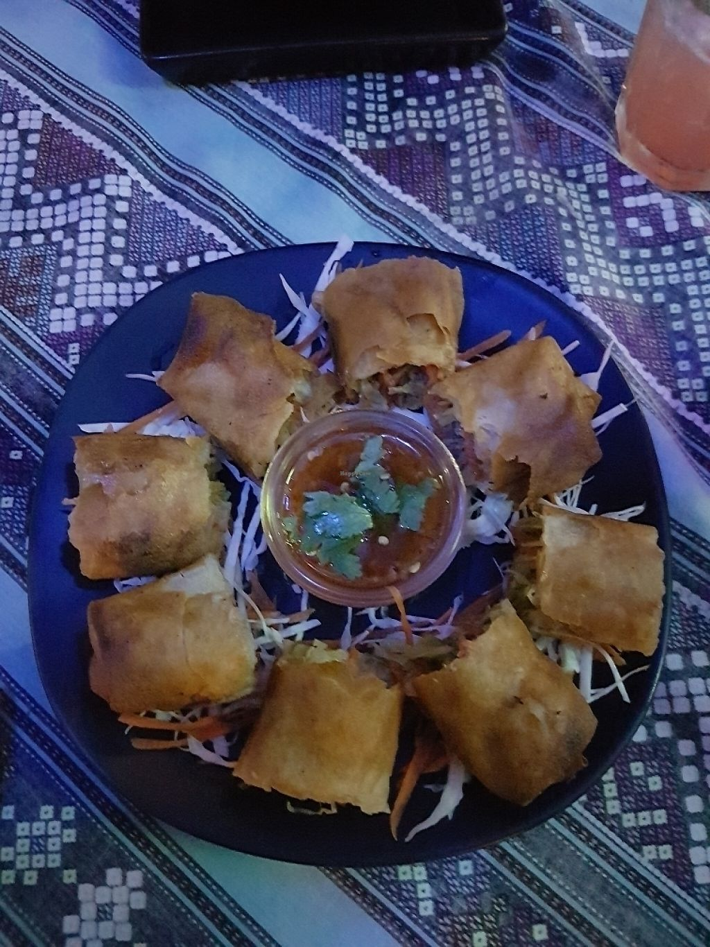 "Photo of Blue Juice  by <a href=""/members/profile/JenniferTheresa"">JenniferTheresa</a> <br/>Veg Spring Rolls. 60 baht <br/> June 3, 2017  - <a href='/contact/abuse/image/86878/265328'>Report</a>"