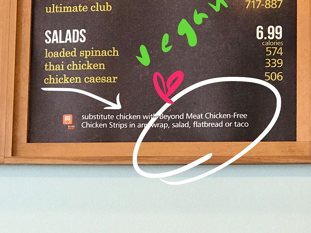 "Photo of Tropical Smoothie Cafe  by <a href=""/members/profile/Tata"">Tata</a> <br/>Signage on vegan chicken option!  <br/> June 20, 2017  - <a href='/contact/abuse/image/86973/271520'>Report</a>"
