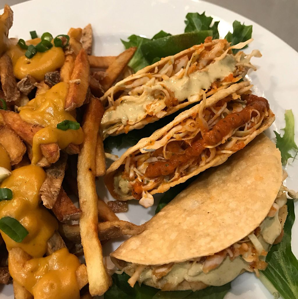 """Photo of Hearts Choices - NorthEast  by <a href=""""/members/profile/vegetariangirl"""">vegetariangirl</a> <br/>vegan tacos and cheeze fries  <br/> March 11, 2017  - <a href='/contact/abuse/image/86982/235018'>Report</a>"""