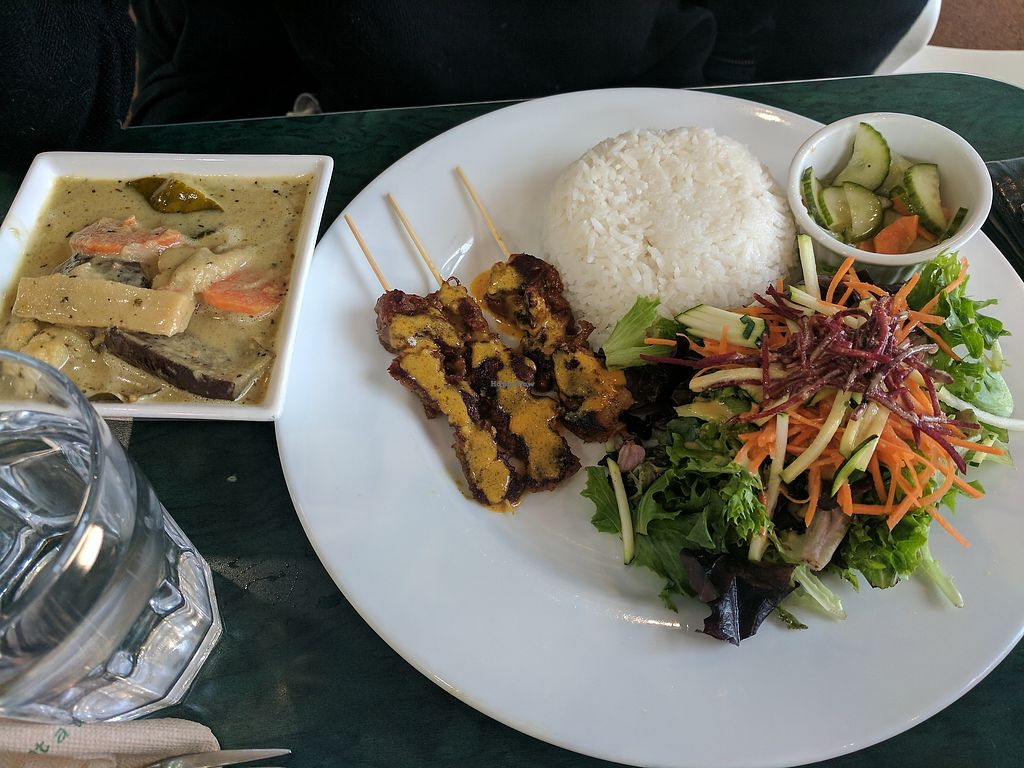 """Photo of Hearts Choices - NorthEast  by <a href=""""/members/profile/lmcc"""">lmcc</a> <br/>Green curry and skewers thai plate <br/> December 9, 2017  - <a href='/contact/abuse/image/86982/333655'>Report</a>"""