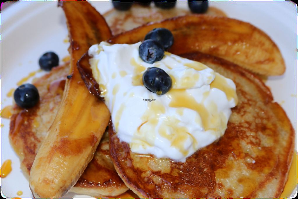 """Photo of Green Wise Monkeys  by <a href=""""/members/profile/SophieLee"""">SophieLee</a> <br/>pancakes topped with coconut yoghurt, blueberries, pure maple syrup, caramelised banana  <br/> February 11, 2017  - <a href='/contact/abuse/image/87001/225151'>Report</a>"""