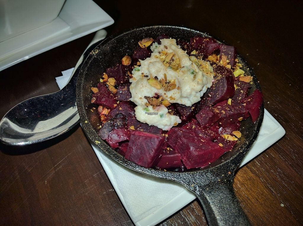 """Photo of Wynn Hotel - La Cave  by <a href=""""/members/profile/Sonja%20and%20Dirk"""">Sonja and Dirk</a> <br/>roasted beets with vegan cheese <br/> February 12, 2017  - <a href='/contact/abuse/image/87057/225975'>Report</a>"""