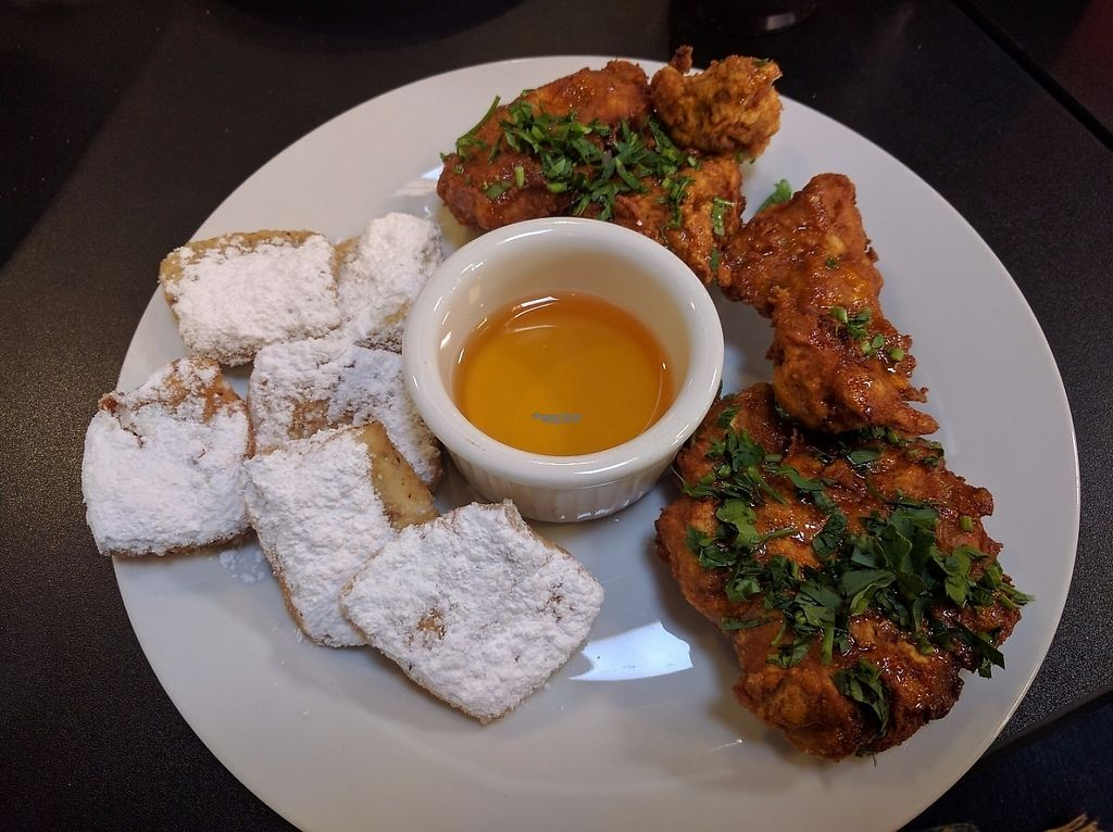 """Photo of Bronze Cafe at The Market  by <a href=""""/members/profile/Sonja%20and%20Dirk"""">Sonja and Dirk</a> <br/>seitan chicken and beignets <br/> February 12, 2017  - <a href='/contact/abuse/image/87058/225965'>Report</a>"""