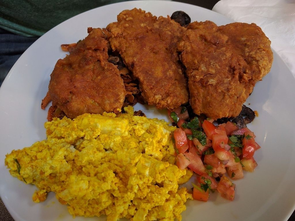 """Photo of Bronze Cafe at The Market  by <a href=""""/members/profile/Sonja%20and%20Dirk"""">Sonja and Dirk</a> <br/>seitan chicken and tofu scramble <br/> February 12, 2017  - <a href='/contact/abuse/image/87058/225966'>Report</a>"""