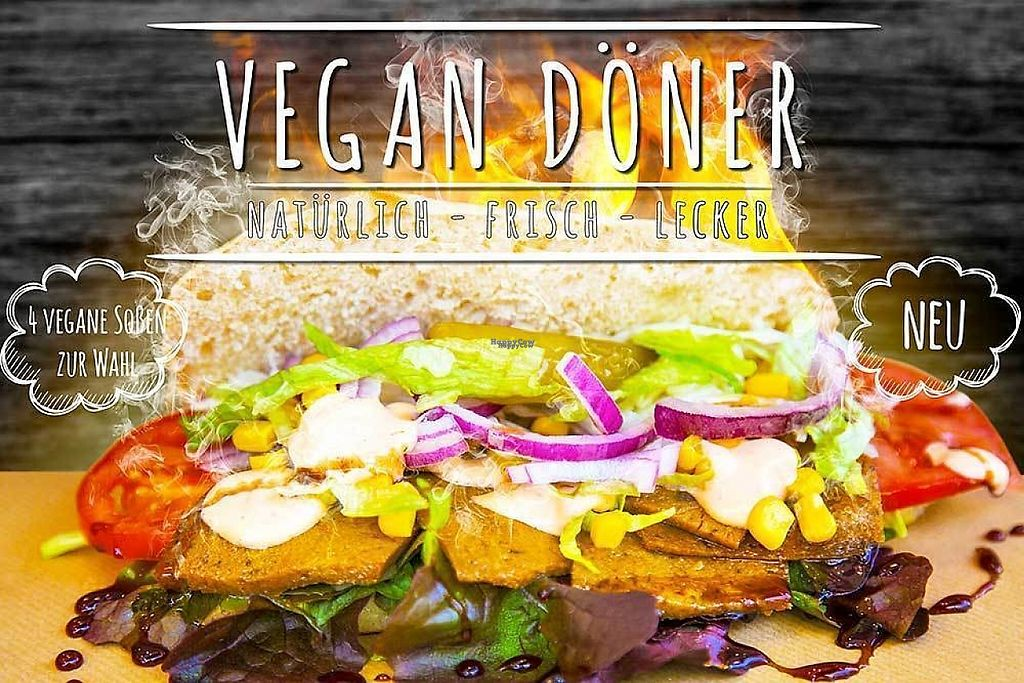 "Photo of Bermuda Doner - Kortumstr  by <a href=""/members/profile/kolaj"">kolaj</a> <br/>Ad for vegan doner with four different sauces <br/> February 13, 2017  - <a href='/contact/abuse/image/87074/226208'>Report</a>"