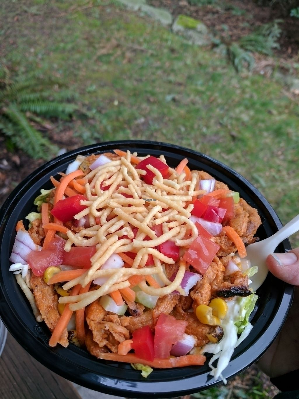 "Photo of Fatsquatch PDX - Food Cart  by <a href=""/members/profile/katypine"">katypine</a> <br/>Erie salad: buffalo soy curls, grilled corn, onion, tomato, carrot, crunchy things  <br/> March 2, 2017  - <a href='/contact/abuse/image/87094/231958'>Report</a>"
