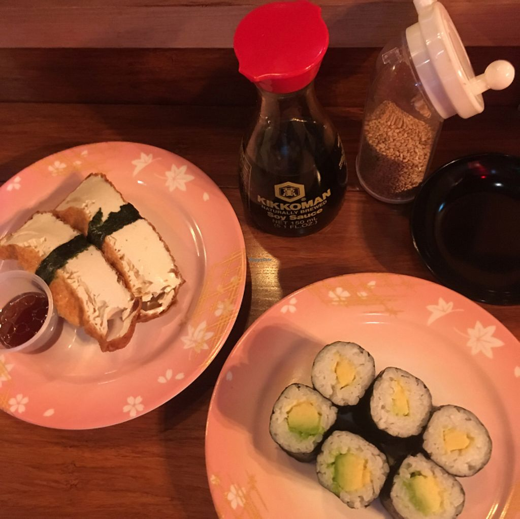 "Photo of MisoHapi  by <a href=""/members/profile/jojoinbrighton"">jojoinbrighton</a> <br/>tofu nigiri & avocado rolls <br/> May 1, 2017  - <a href='/contact/abuse/image/87111/254531'>Report</a>"