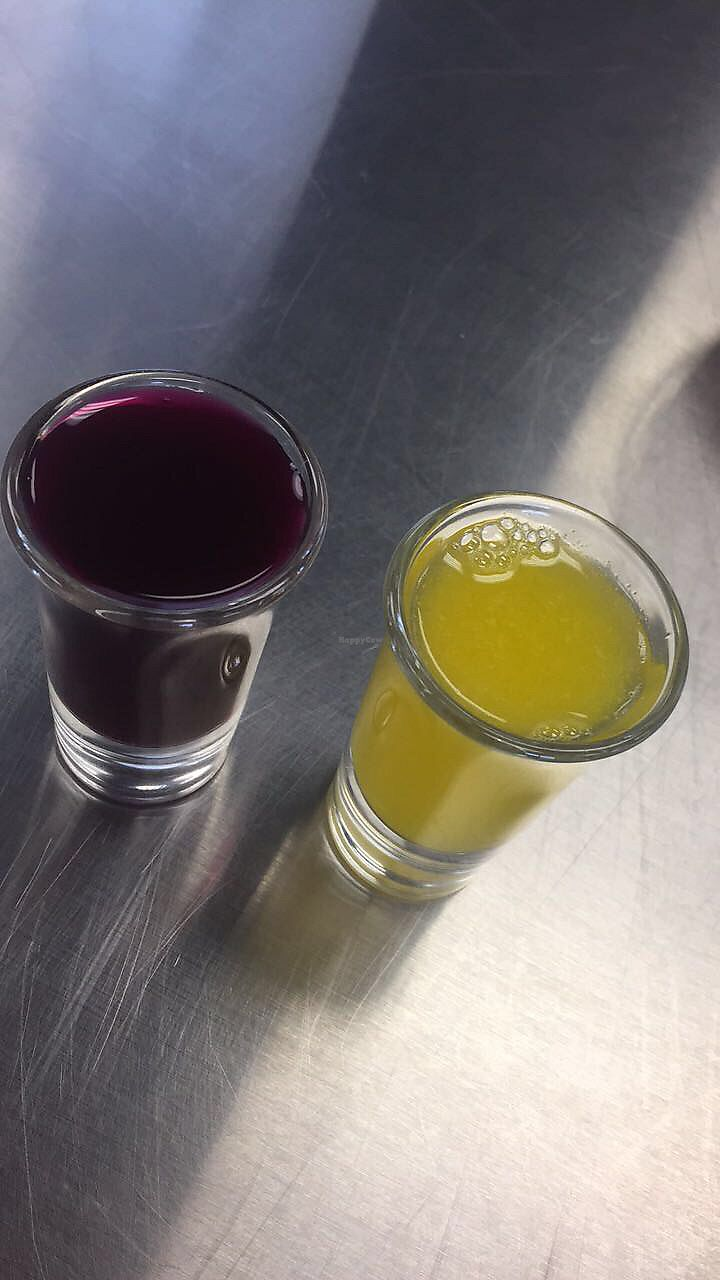 "Photo of The Weekly Juicery - Palomar Centre  by <a href=""/members/profile/happycowgirl"">happycowgirl</a> <br/>vegan beet kvass shot with orange juice chaser <br/> September 6, 2017  - <a href='/contact/abuse/image/87128/301547'>Report</a>"