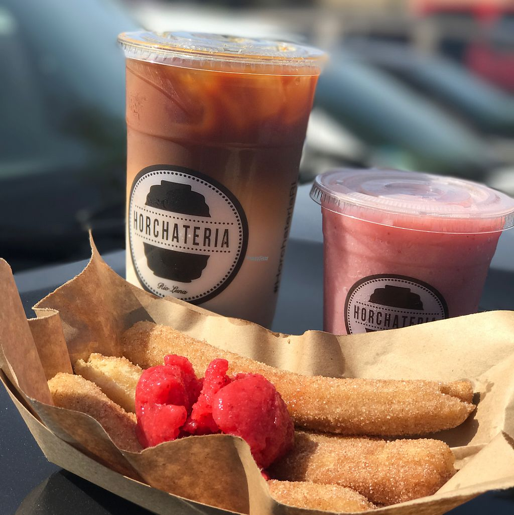 "Photo of Horchateria Rio Luna  by <a href=""/members/profile/xmrfigx"">xmrfigx</a> <br/>Vegan horchata iced coffee, Vegan strawberry Frapp with Almond Milk and Vegan churros with strawberry sorbet <br/> April 23, 2017  - <a href='/contact/abuse/image/87132/251685'>Report</a>"