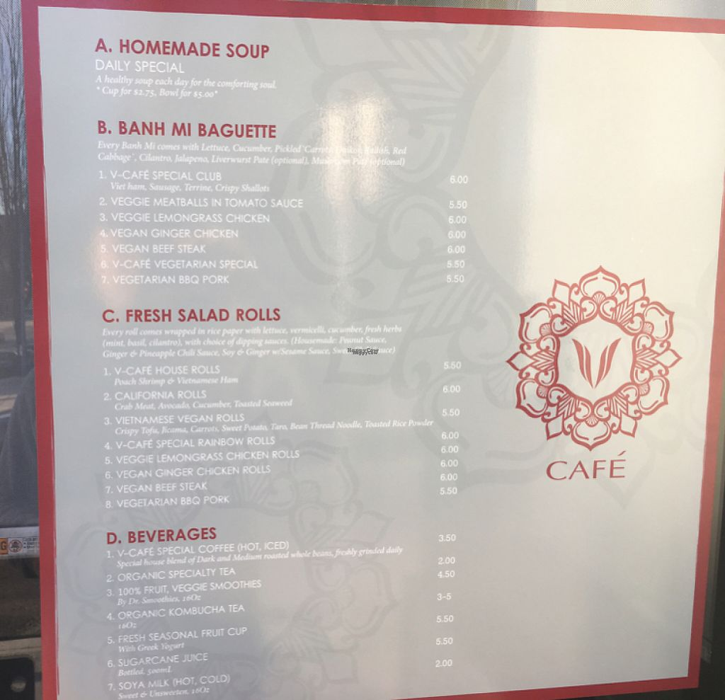 """Photo of V Cafe  by <a href=""""/members/profile/Zo"""">Zo</a> <br/>menu  <br/> February 13, 2017  - <a href='/contact/abuse/image/87134/226366'>Report</a>"""