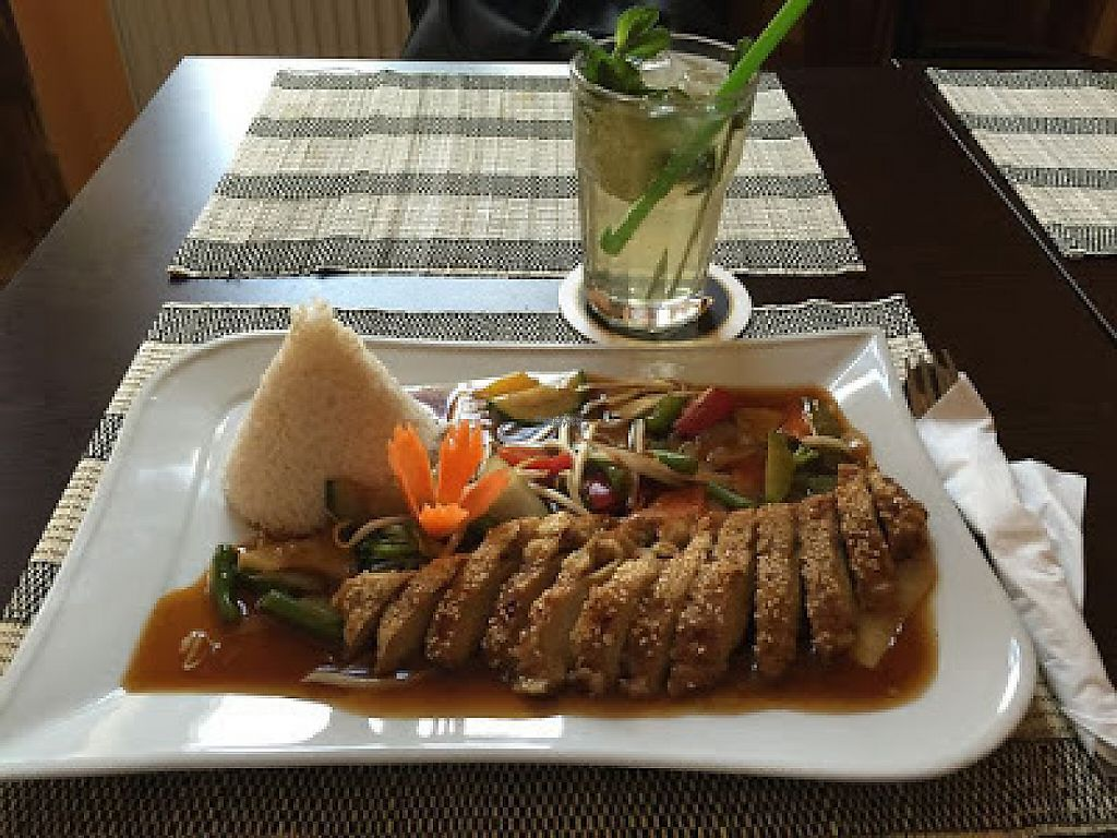 """Photo of Vegan Express  by <a href=""""/members/profile/ViolaceousViolin"""">ViolaceousViolin</a> <br/>Faux duck with vegetables and rice <br/> February 15, 2017  - <a href='/contact/abuse/image/87168/226841'>Report</a>"""