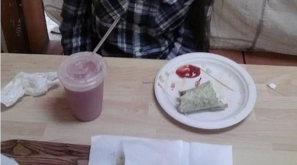 "Photo of Oasis Vegetarian Cafe  by <a href=""/members/profile/KristinNirvana"">KristinNirvana</a> <br/>Avocado wrap, strawberry banana soymilk shake, and fries (toward the front.) Also you can see the cloth in the back that seperates the cafe from La Sierra Natural Foods store <br/> January 27, 2015  - <a href='/contact/abuse/image/8716/91451'>Report</a>"