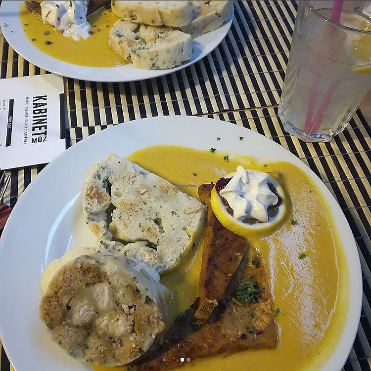 """Photo of Die Küche  by <a href=""""/members/profile/FitVeganTrio"""">FitVeganTrio</a> <br/>Grilled Seitan with cream sauce and amazing dumpling. The best dumplings we've ever eaten! <br/> November 24, 2017  - <a href='/contact/abuse/image/87171/328837'>Report</a>"""