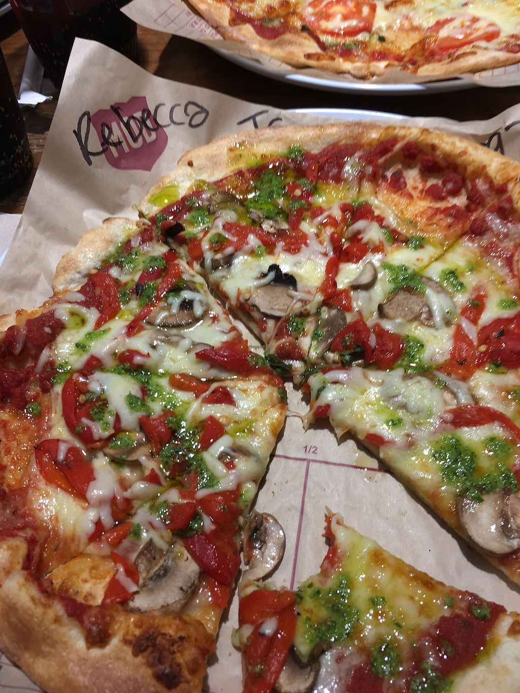 """Photo of Mod Pizza  by <a href=""""/members/profile/BeckyOllier"""">BeckyOllier</a> <br/>Vegetarian pizza  <br/> September 16, 2017  - <a href='/contact/abuse/image/87201/305156'>Report</a>"""