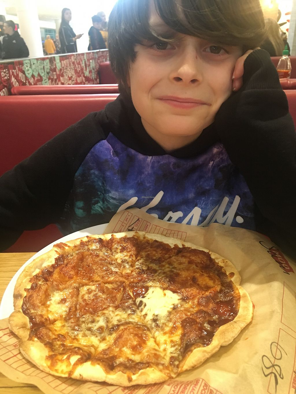 """Photo of Mod Pizza  by <a href=""""/members/profile/SamanthaParkin"""">SamanthaParkin</a> <br/>Vegetarian BBQ pizza for this dude <br/> April 13, 2018  - <a href='/contact/abuse/image/87204/385035'>Report</a>"""