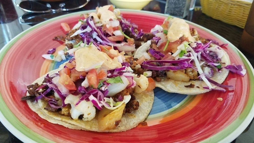 """Photo of La Charrita Mexican Restaurant  by <a href=""""/members/profile/kenvegan"""">kenvegan</a> <br/>vegan tacos with soyrizo and cauliflower <br/> May 22, 2017  - <a href='/contact/abuse/image/87279/261531'>Report</a>"""