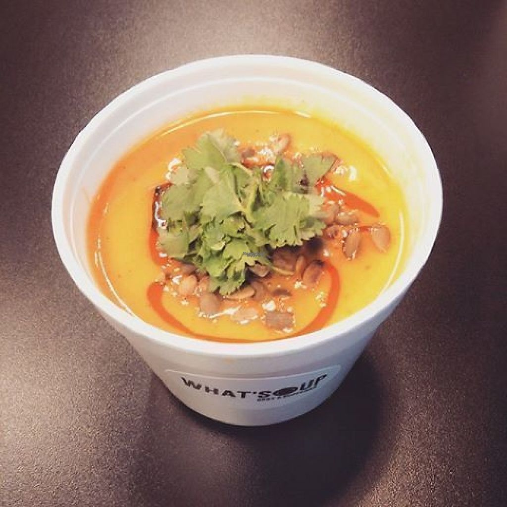 """Photo of What'Soup  by <a href=""""/members/profile/community"""">community</a> <br/>Carrot and sweet potato soup topped with toasted pumpkin seeds, chilli oil and coriander.  <br/> February 17, 2017  - <a href='/contact/abuse/image/87288/227210'>Report</a>"""