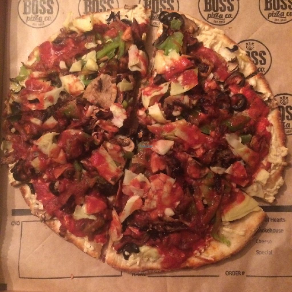 """Photo of Boss Pizza Company  by <a href=""""/members/profile/glassesgirl79"""">glassesgirl79</a> <br/>Vegan pizza with daiya cheese  <br/> February 17, 2017  - <a href='/contact/abuse/image/87289/227286'>Report</a>"""