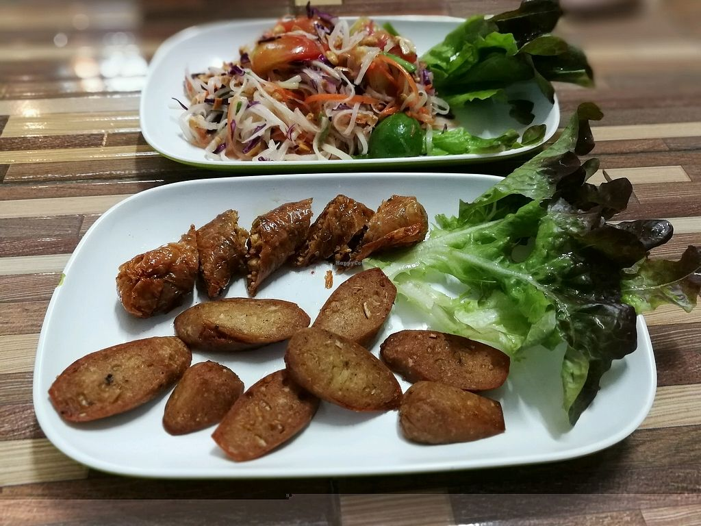 """Photo of Bee Vegan  by <a href=""""/members/profile/PatrickTunhapong"""">PatrickTunhapong</a> <br/>Northern sausage and e-san sausage  <br/> January 16, 2018  - <a href='/contact/abuse/image/87311/347214'>Report</a>"""