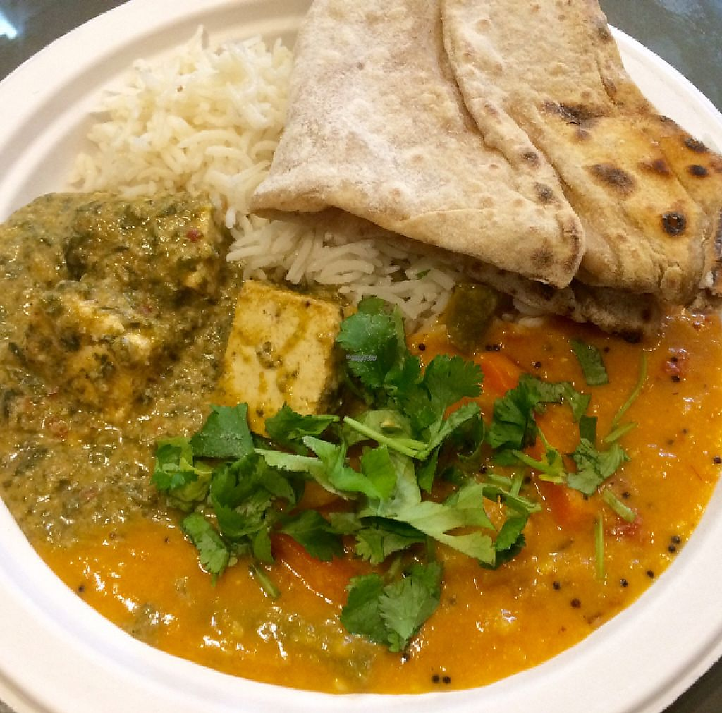 "Photo of Hariprasad Samosa & Curry  by <a href=""/members/profile/FatTonyBMX"">FatTonyBMX</a> <br/>Tofu curry, dal, rice, and bread <br/> March 1, 2017  - <a href='/contact/abuse/image/87313/231441'>Report</a>"