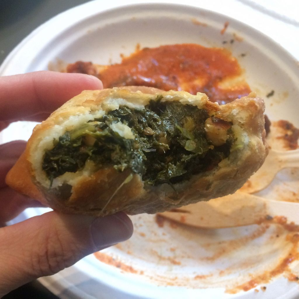 "Photo of Hariprasad Samosa & Curry  by <a href=""/members/profile/FatTonyBMX"">FatTonyBMX</a> <br/>Spinach and chickpea samosa.  <br/> March 6, 2017  - <a href='/contact/abuse/image/87313/233474'>Report</a>"