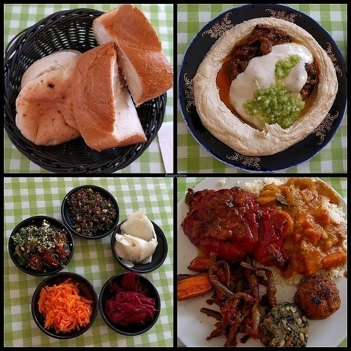"""Photo of Galbi - Anat's Place  by <a href=""""/members/profile/LibbyRan"""">LibbyRan</a> <br/>Eggplants hummus, challa and pita, a vegan plate and salads <br/> June 17, 2017  - <a href='/contact/abuse/image/87320/269986'>Report</a>"""