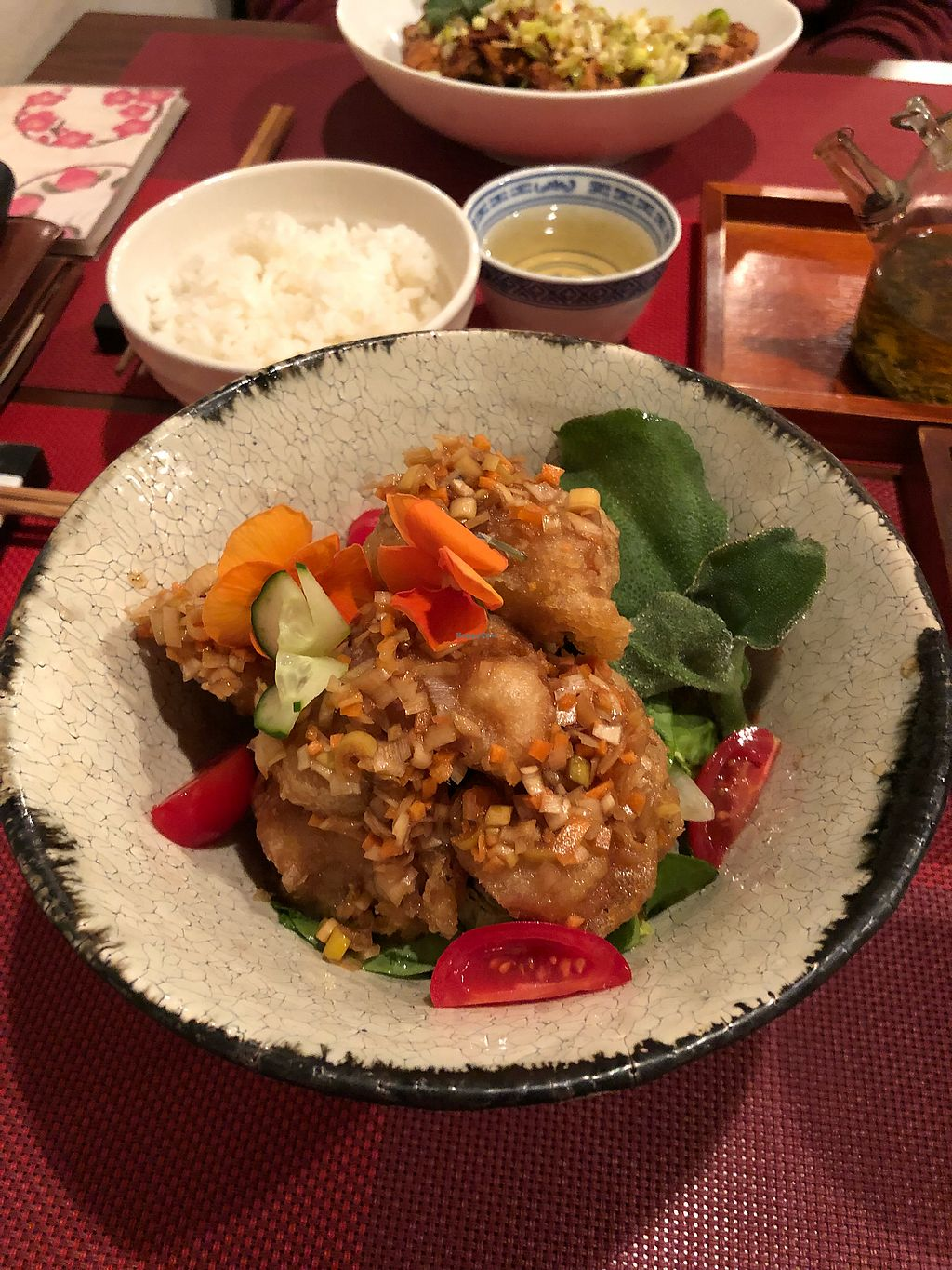 """Photo of Saizencyuka anzu  by <a href=""""/members/profile/HelaniVithanage"""">HelaniVithanage</a> <br/>Vegan Soy 'Chicken' with vinegar dressing  <br/> April 15, 2018  - <a href='/contact/abuse/image/87323/386185'>Report</a>"""