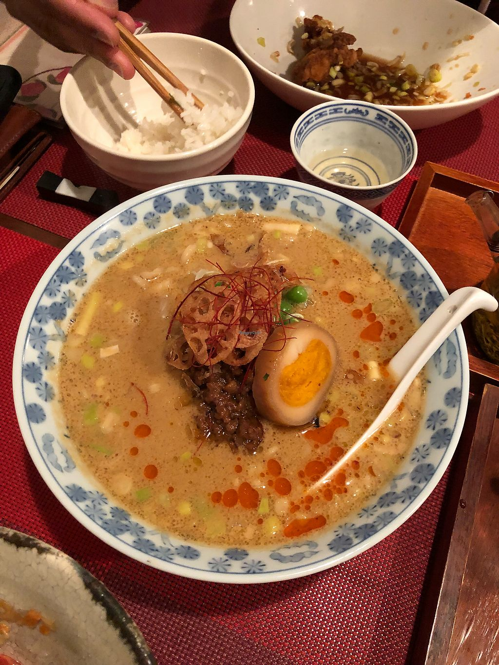 """Photo of Saizencyuka anzu  by <a href=""""/members/profile/HelaniVithanage"""">HelaniVithanage</a> <br/>Tantanmen Ramen and Vegan 'egg' <br/> April 15, 2018  - <a href='/contact/abuse/image/87323/386186'>Report</a>"""