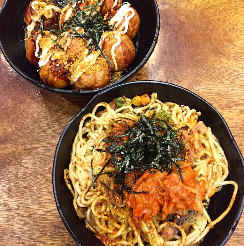 """Photo of Tian Zhi Yu - Heaven Driven Vegan  by <a href=""""/members/profile/HaileyPoLa"""">HaileyPoLa</a> <br/>vegan takoyaki balls and fried noodles  <br/> June 4, 2017  - <a href='/contact/abuse/image/87346/265742'>Report</a>"""