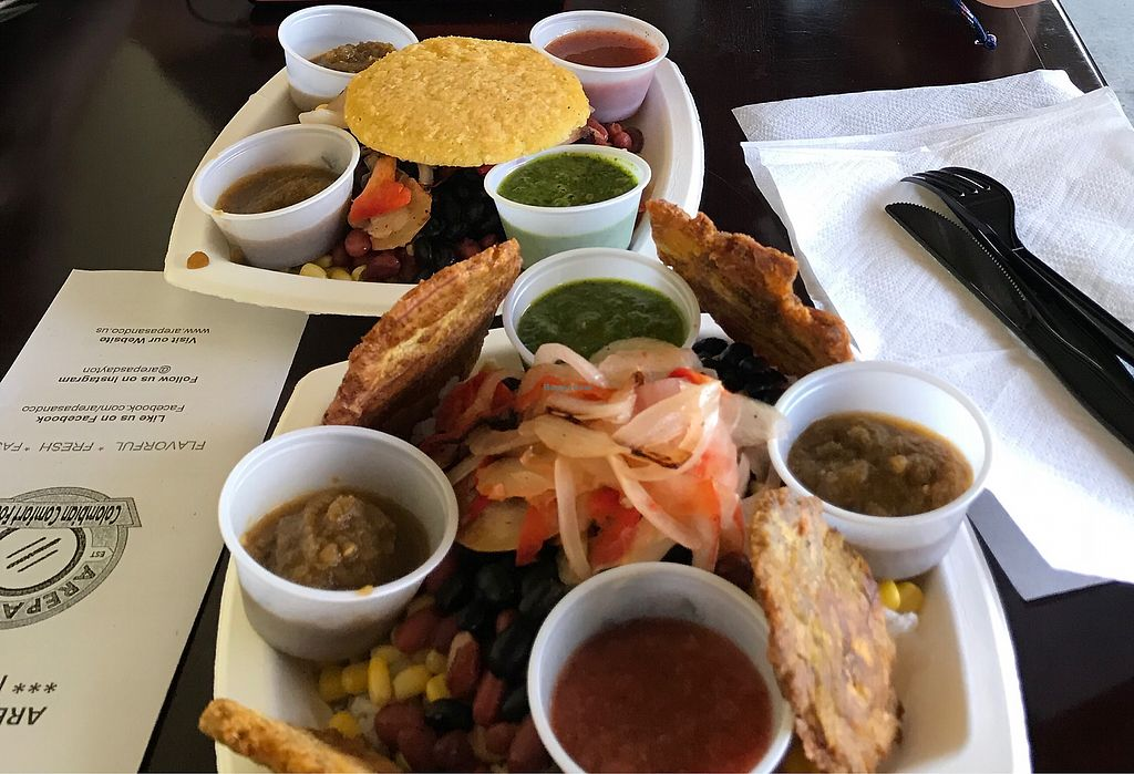 """Photo of Arepas & Co  by <a href=""""/members/profile/nmm"""">nmm</a> <br/>Delicious plantains and flavorful sauces <br/> October 6, 2017  - <a href='/contact/abuse/image/87392/312512'>Report</a>"""